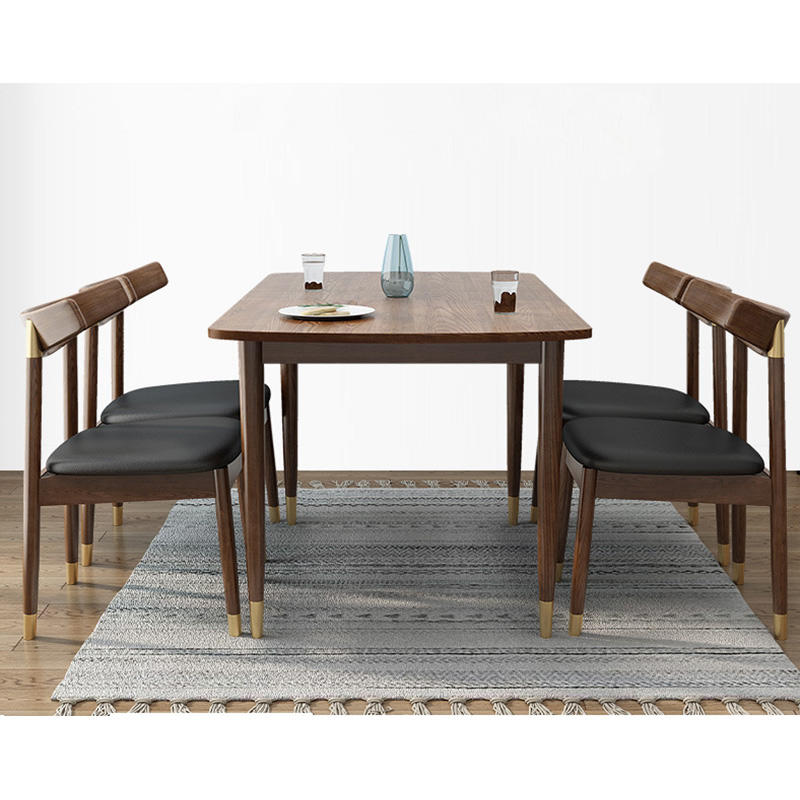 Morden custom brass feet natural solid wooden dining chair with fabric cover for for dining room furniture