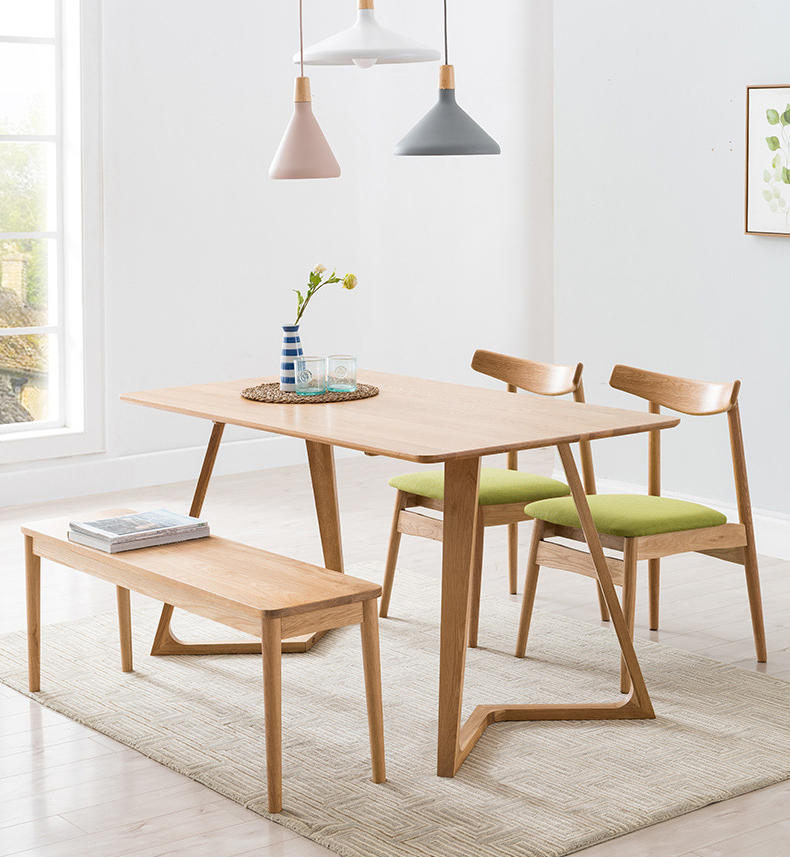 Morden simple design natural solid wooden long coffee chair dining chair for two persons using in dining room or restaurant