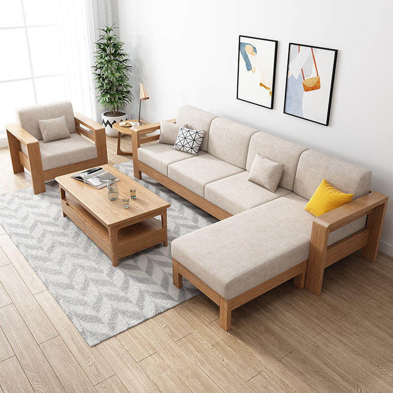 Modern simple small household single solid wood sofa creative fashion living room