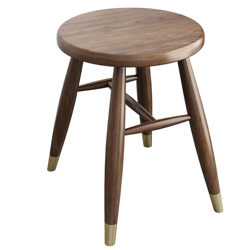 BOOMDEER custom walnut color copper foot nordic dining soild wooden comfortable round stool set dining room by using white ash
