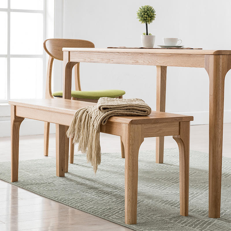 BOOMDEER custom design natural wood color cheapnordic dining soild wooden comfortable chair set dining room by using white oak