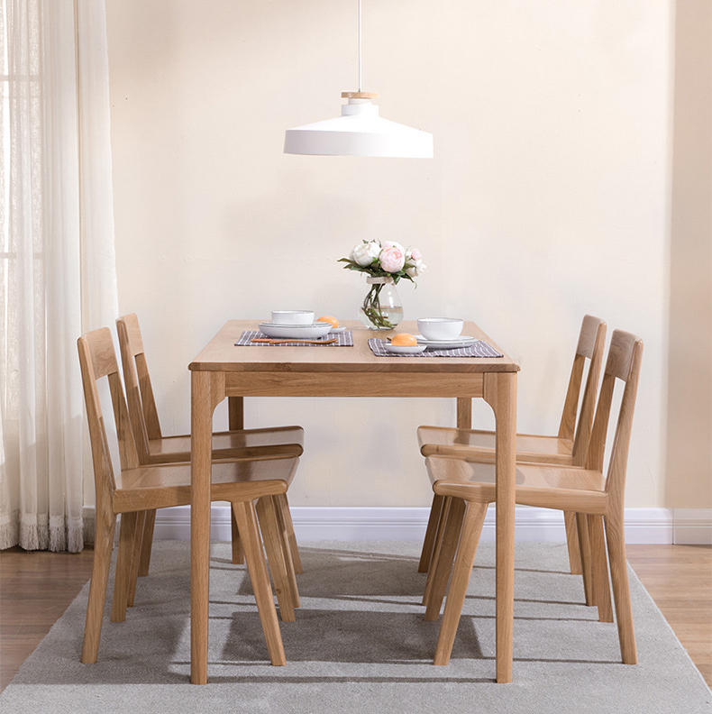 BOOMDEER custom two color optionalcheapnordic dining soild wooden comfortable chair set dining room by using white ash