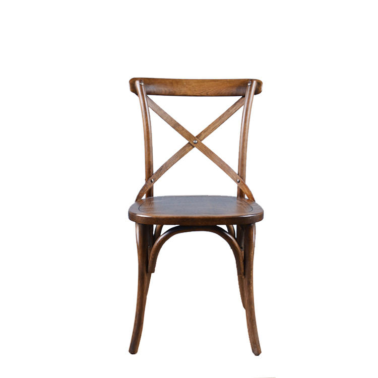 Antique Style Stackable Oak Wooden Chair Cross X Back Dining ChairWood Furniture Set
