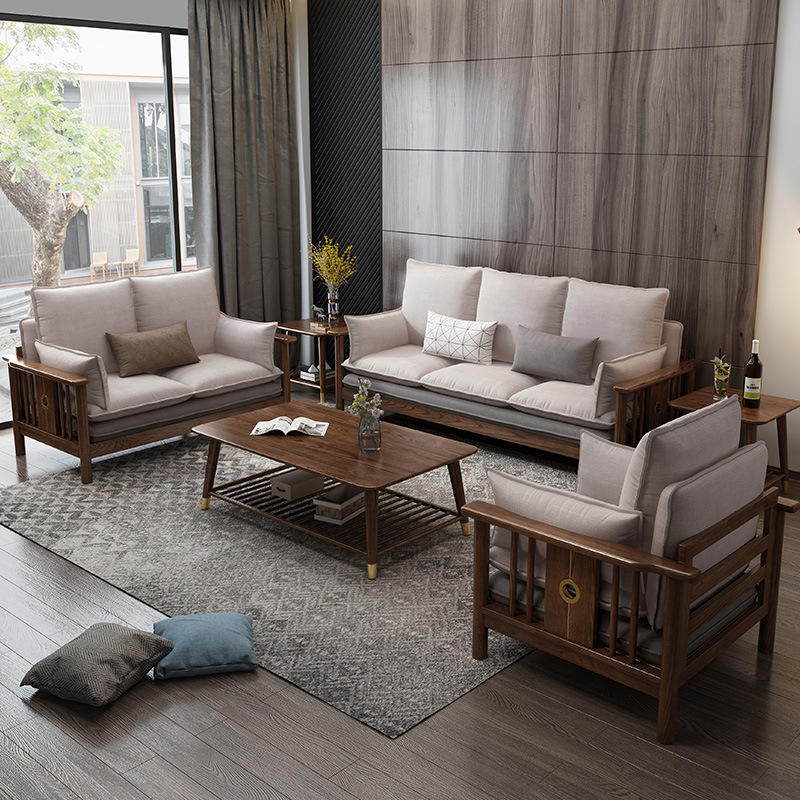 Walnut Set Wood Garden Furniture Livingroom Come Bed Home Modern Nordic Outdoor Luxury Sofas Setssolid Wooden Corner Sofa