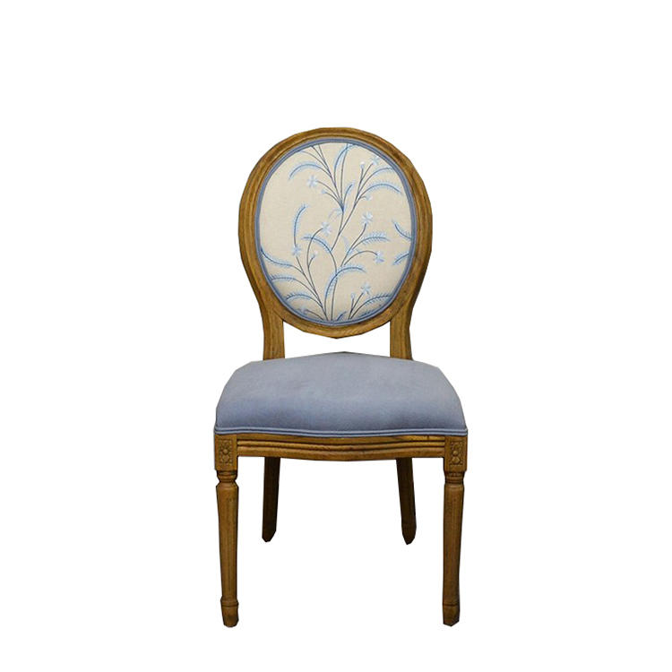 Boomdeer Antique Light Blue Fabric Round Back Wooden Dining Chair