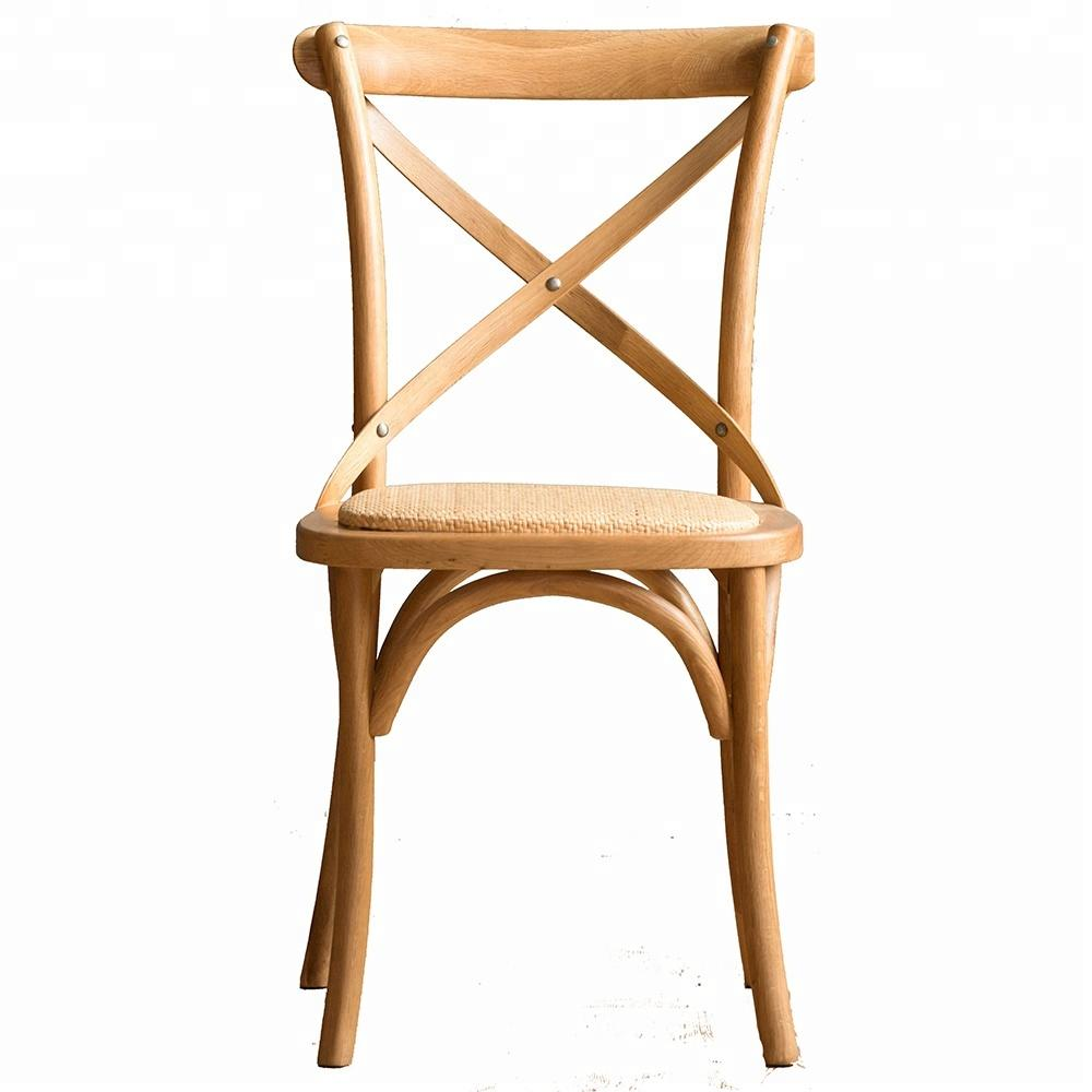 Boomdeer Top Grade Wooden Antique Wood Seat X Cross Back dining room Chairs Cross Back Chair