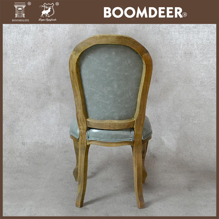 Wholesale Cheap Antique Luxury French Restaurant Accent Chairs Leather Solid Wood Chair Dining Chair
