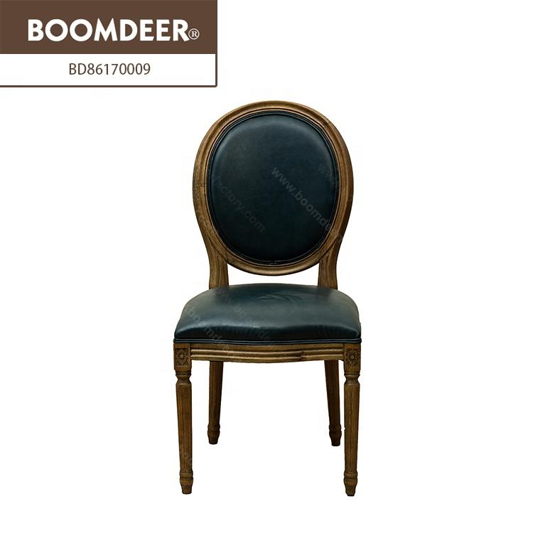 Hot Selling High Quality Classic Furniture Brown Leather Office Chair Solid Wooden Dining Chair