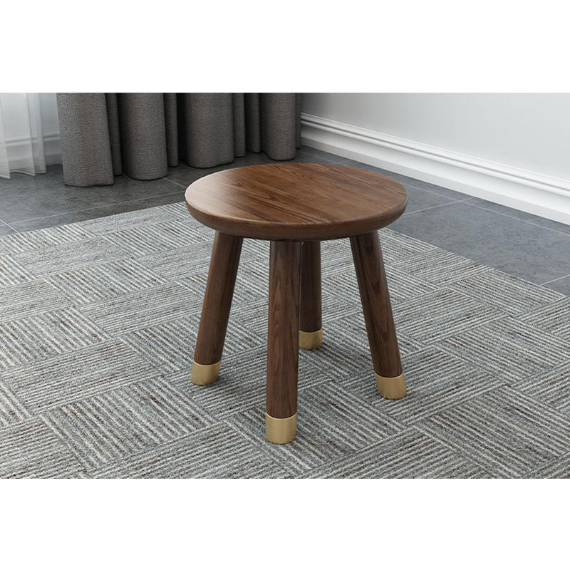 Living room new design modern hot sale white ash D 28 cm walnut color copper feet solid wood round stool Ottoman home furniture