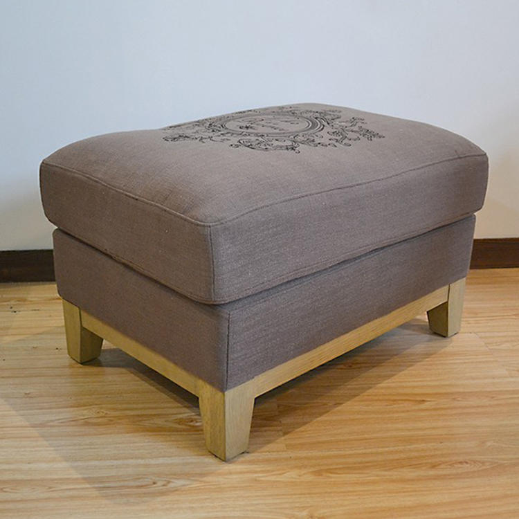 Storage Stool Wooden Footstool Round Pouf French Slipcover Gray Furniture Chair Small Ottoman