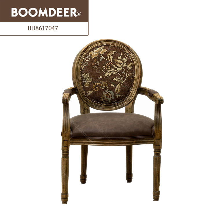 Fashionable Modern Solid WoodLiving Room Round Back Wooden Armed Chair Designs