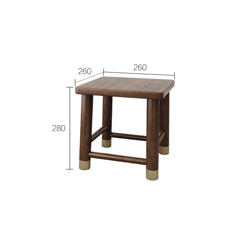 China manufacturer factory price nordic useful simple latest design white ash walnut color copper feet solid wood square stools