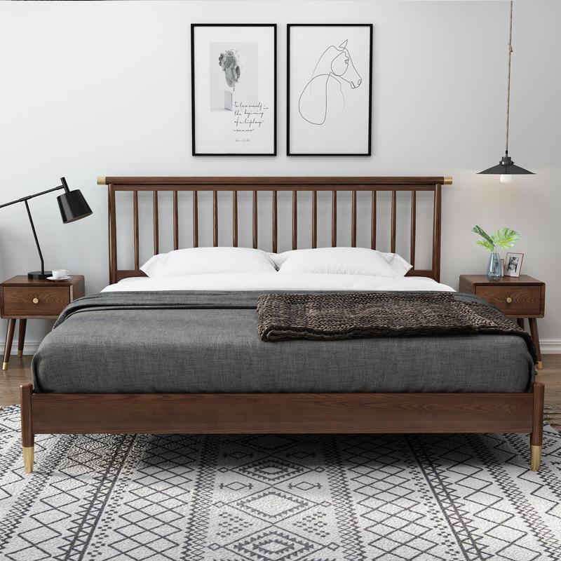 Luxury Bedroom Set Furniture elegant walnut color wooden modern beds designs sleeping house double bed