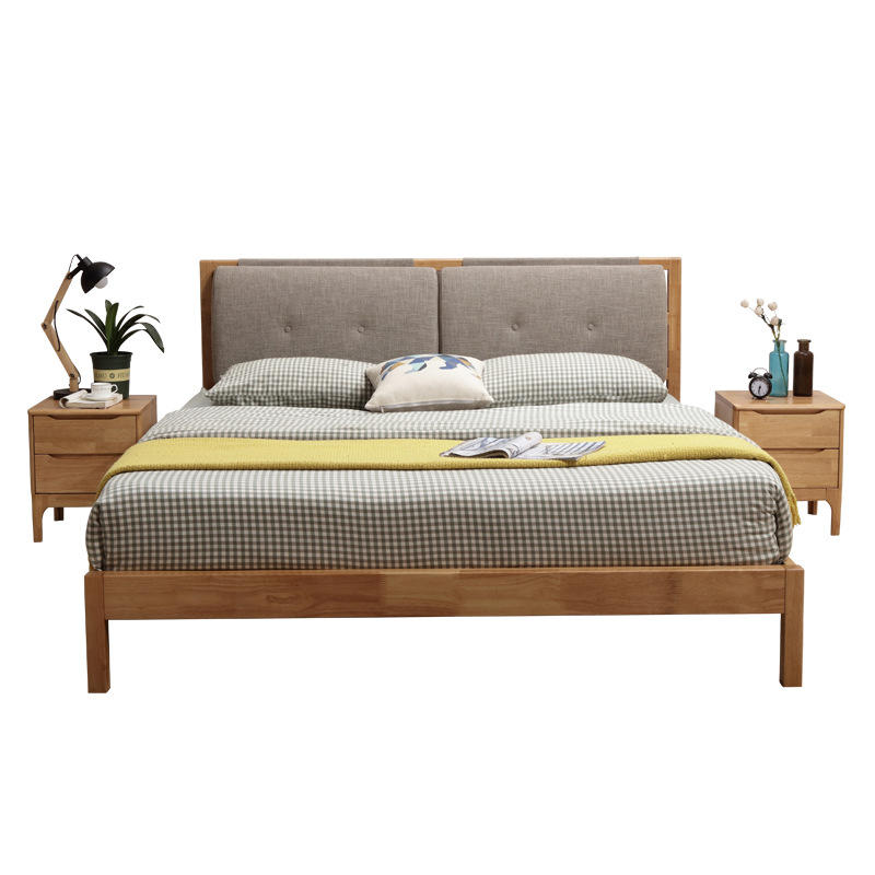 Popular New design modern twin queen king size rubber solid wood bed general use bedroom home furniture strong frame OEM ODM