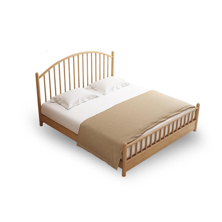 2020 Solid Wood Bed Wooden Double Bed Simple Modern popular Europe style rubber furniture bedroom China factory direct sale hot