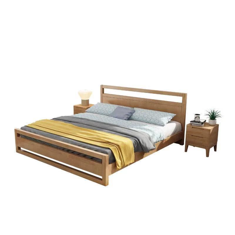 Wooden bed designs double home bedroom furniture solid wood China wholesale Modern King Size cheap fair price new rubber wood