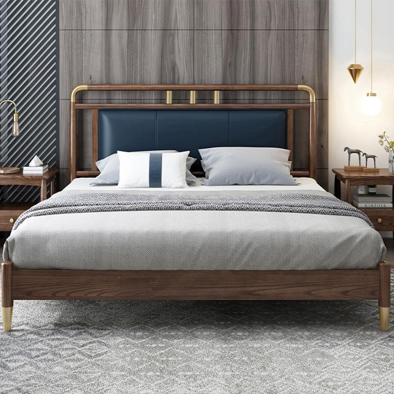 Customizable Factory Direct Luxury bedroom furniture ash Modern Design wood simple latest double bed designs
