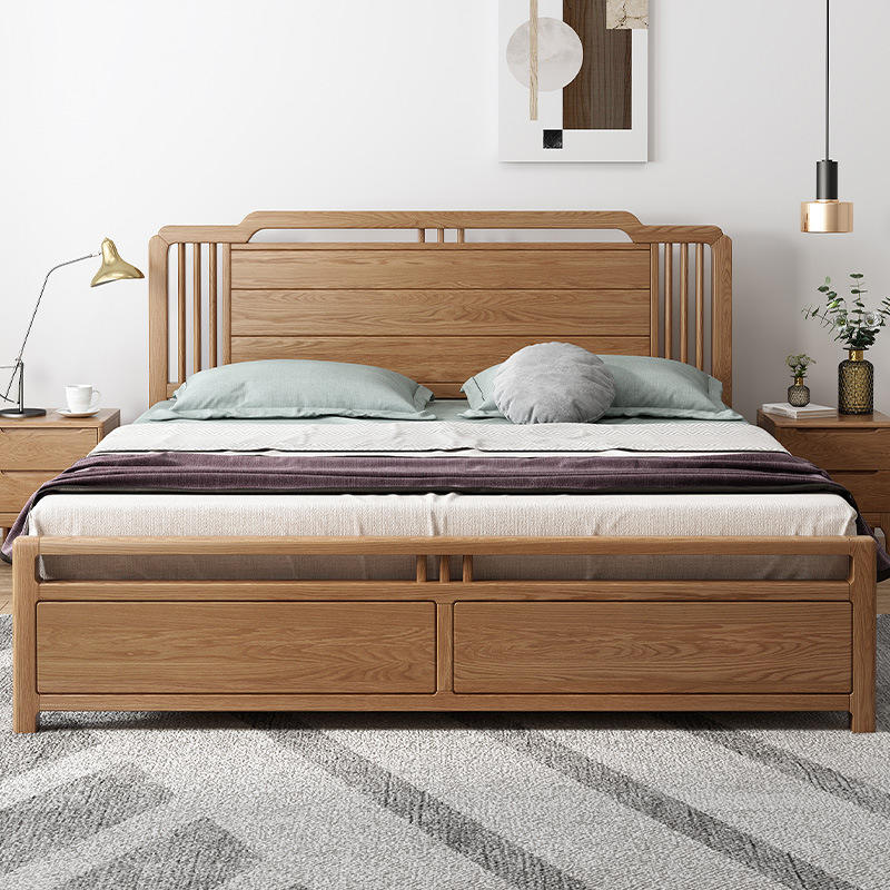 luxury simple design natural wood color double single queen king size soild wooden bed designs with price
