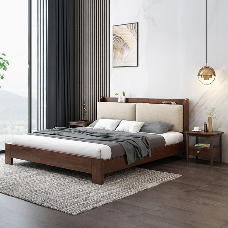 2020 new design multifunction elegant queen and fancy king latest designs furniture soild wooden bed