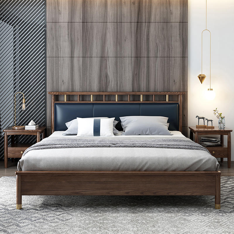 2020 multifunctional famous brand high end full size designs soild wooden beds with Leather backrest