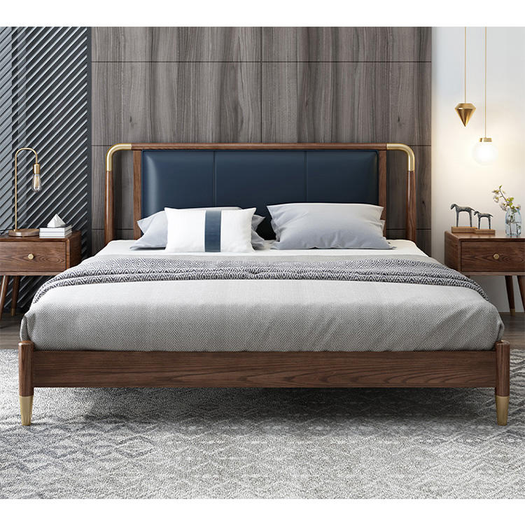 2020 high quality low price comfortable soild wooden bed set with Genuine leather for bedroom furniture