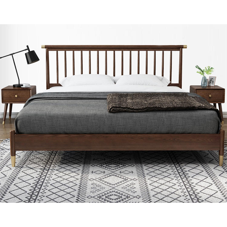 Super luxury low price Value for money walnut color high quality furnituresimple design bed bedroom solid wood