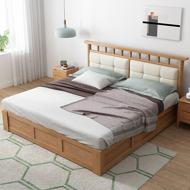 Factory wholesale direct sale of cheap king size low price famous brand furniture bed bedroom solid wood oak