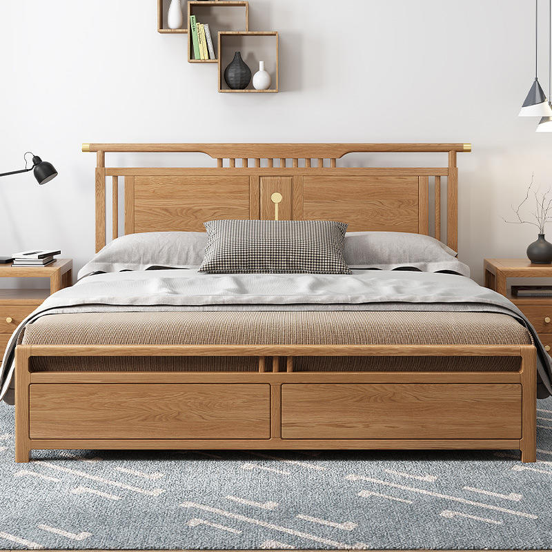 2020 multifunctional natural wood color full size soild wooden bed sets luxury bedroom modern furniture with box