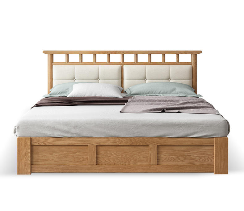 Wooden king size bed frame with storage modern high quality floor bed wooden design multifunction bed furniture with nice back