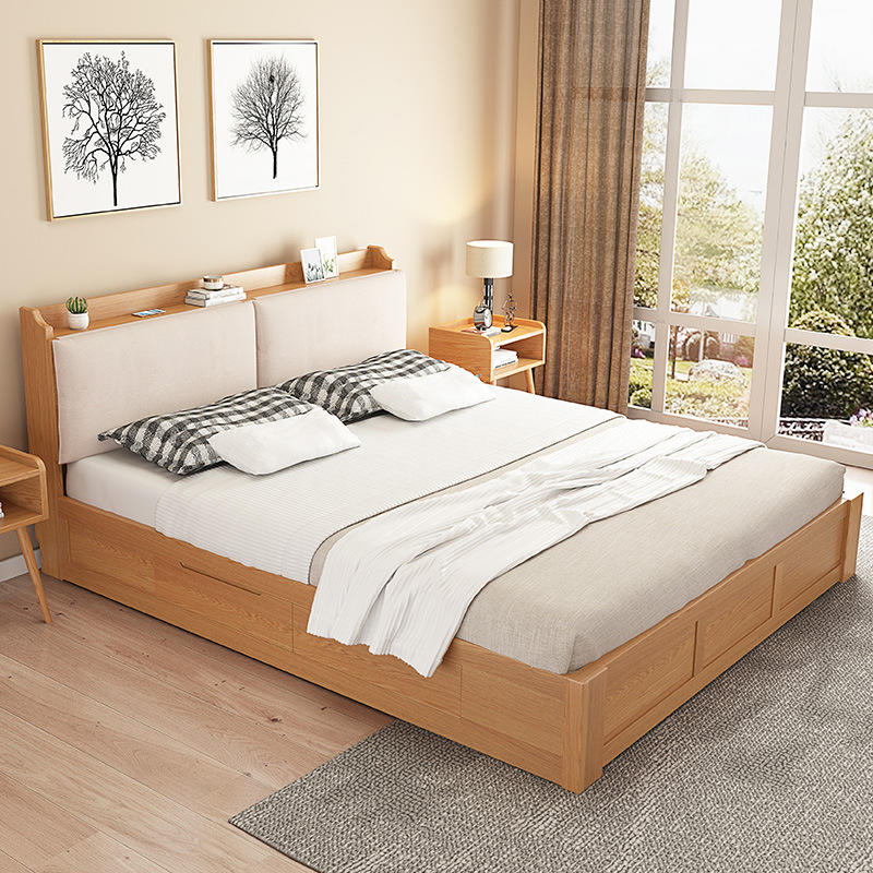 2020 natural wood color simple design wood Multifunctional storage bed furniture for bedroom furniture