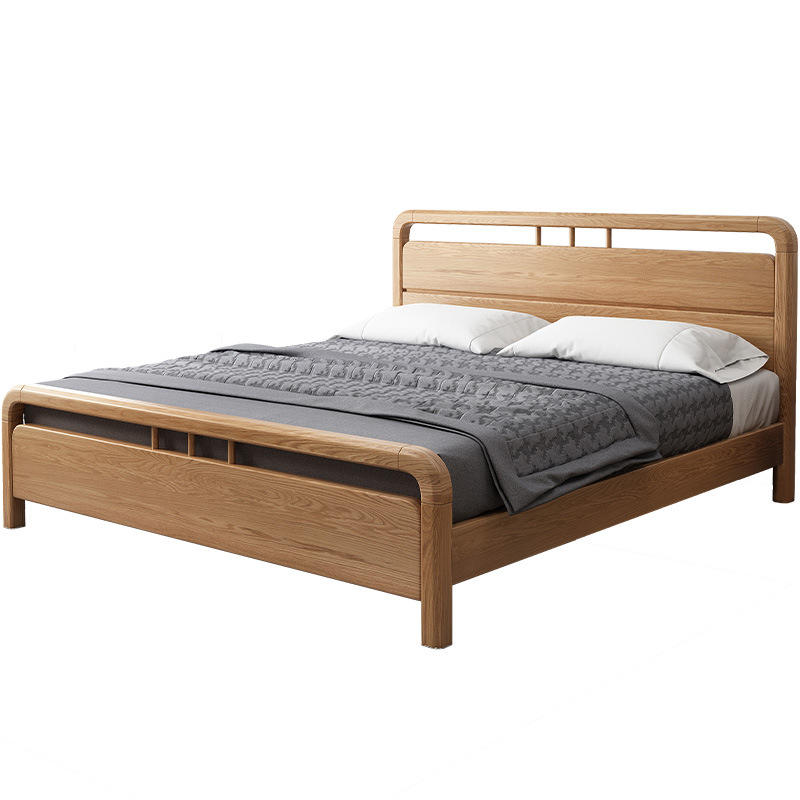 Wooden bed frame queen size 2020 simple design wood home furniture bed solid wood single or double bed