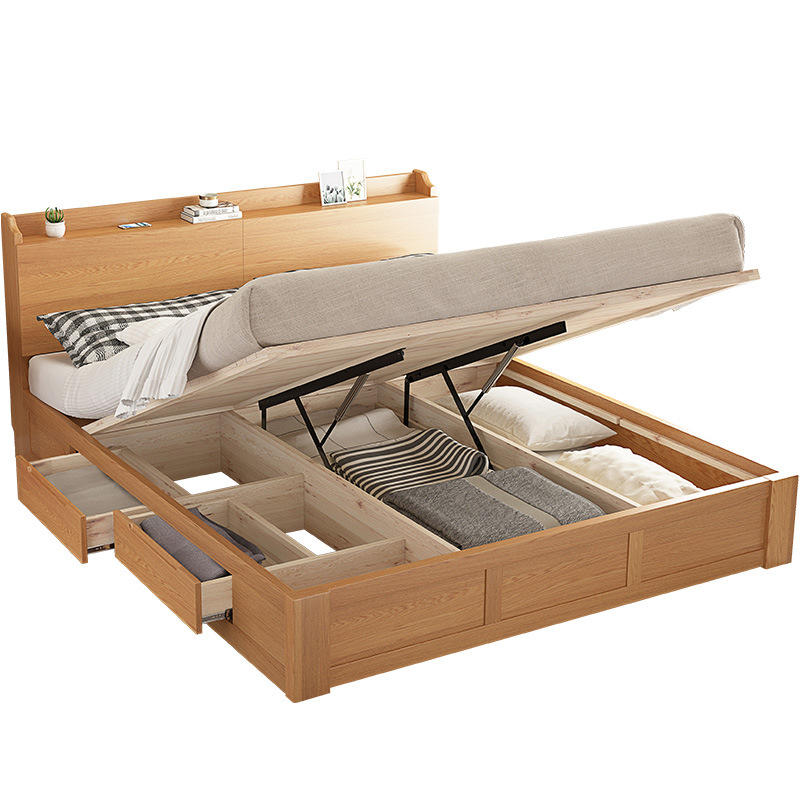 High quality wooden home furniture floor wooden bed with storage box solid wood bed queen sizefor bedroom bed furniture