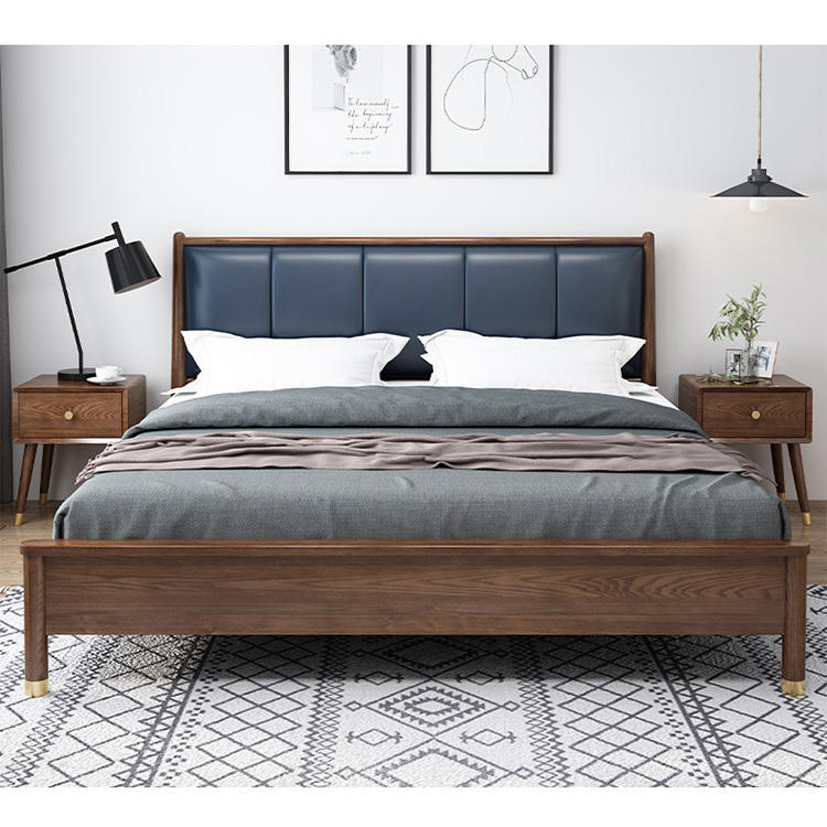 2020 minimalist latest design high quality low price high end soild wooden bed designs furniture with storage