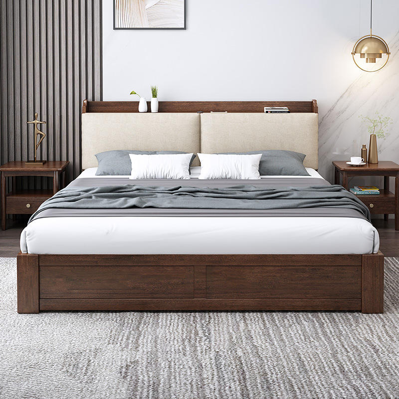 High quality latest-double-bed-designs multifuntion new style luxury wood full size bed with storage box