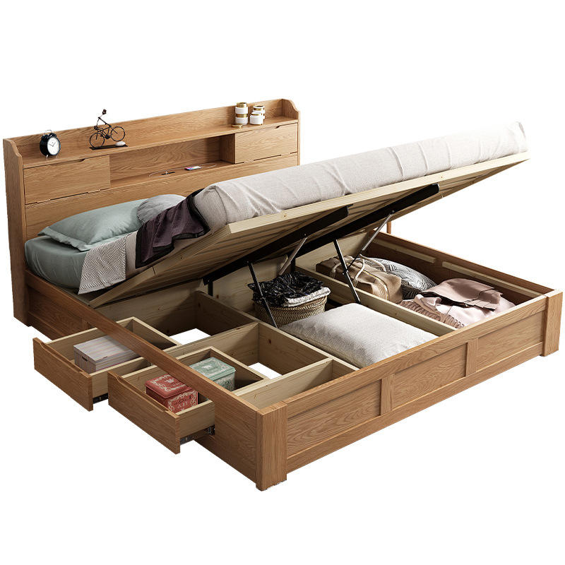 Solid wooden bed furniture modern practical wood bed with clothes storage and bookcase headboard design wood bed queen size