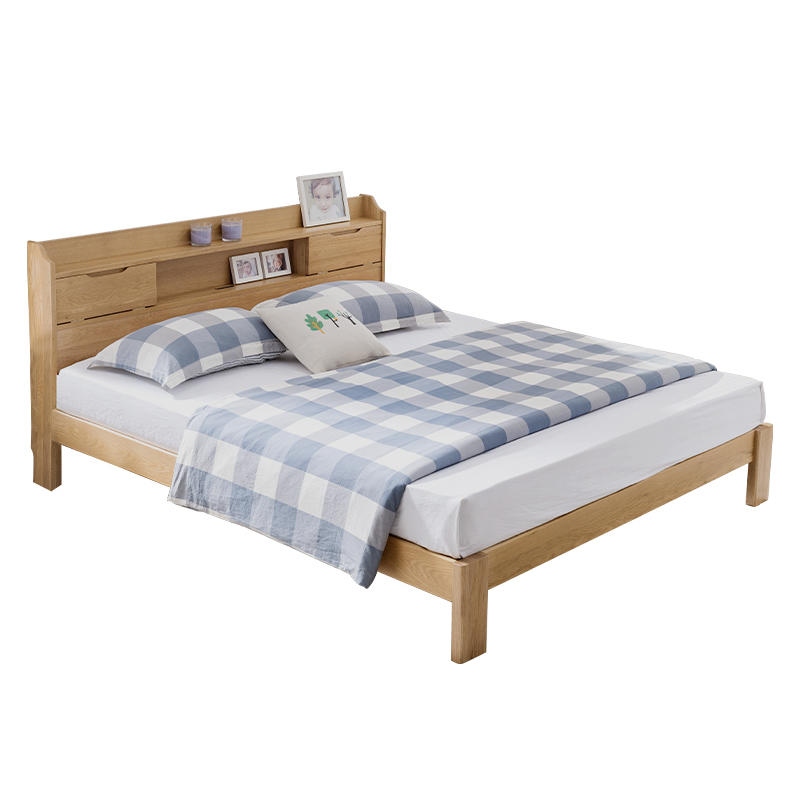 Upholstered fabric wooden bed frame king size room wood bed furniture multifunctional wooden bed with bookcase headboard design
