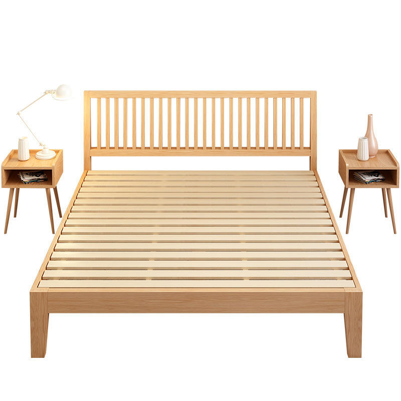 High quality wooden home furniture solid oak wood bed king size big loft couple bed luxury design for bedroom