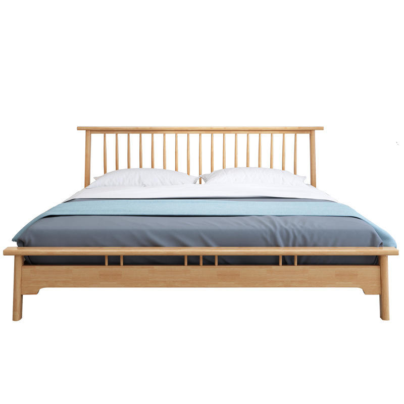 2020 latest OEM supported big wooden couple bed King size wood double bed frame design for bedroom sleeping bed