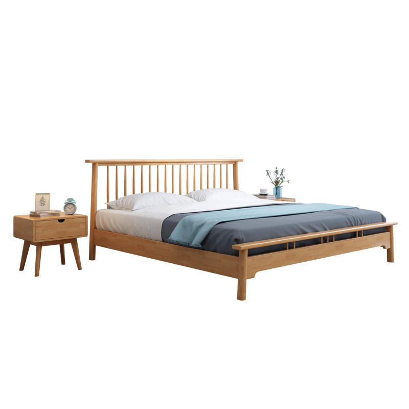 Modern customized home furniture wooden bed Queen size couple bed wooden design full size bed furniture
