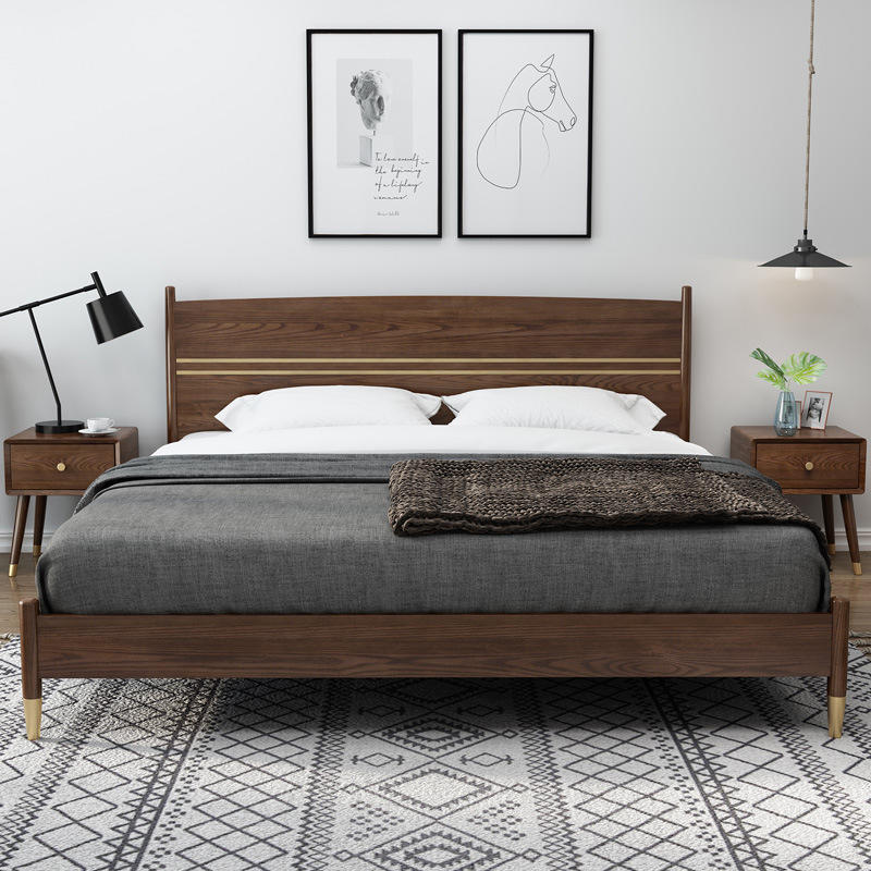 china bed room furniture latest design luxurious walnut color simple design soild wooden upholstery bed