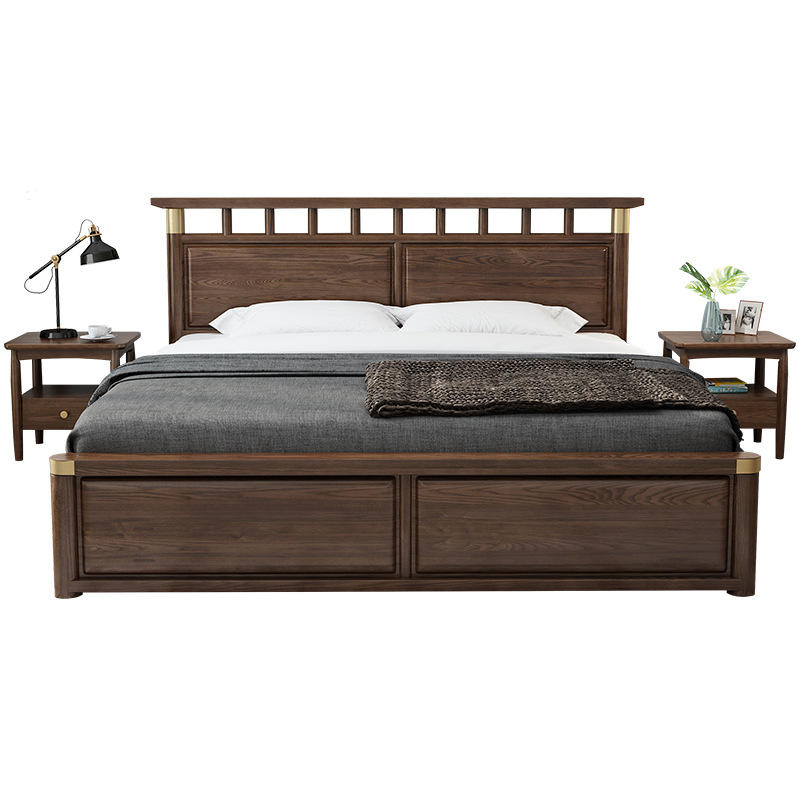 Luxury customizable bedroom furniture extendable storage box wooden bed King size double bed wooden design