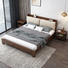 Modern wooden bed with fabric back King size Double bed wooden with bookcase headboard practical bedroom furniture design
