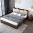 Custom supported Storage box bed wooden King size bed frame extendable wooden bed for bedroom furniture with bookcase headboard
