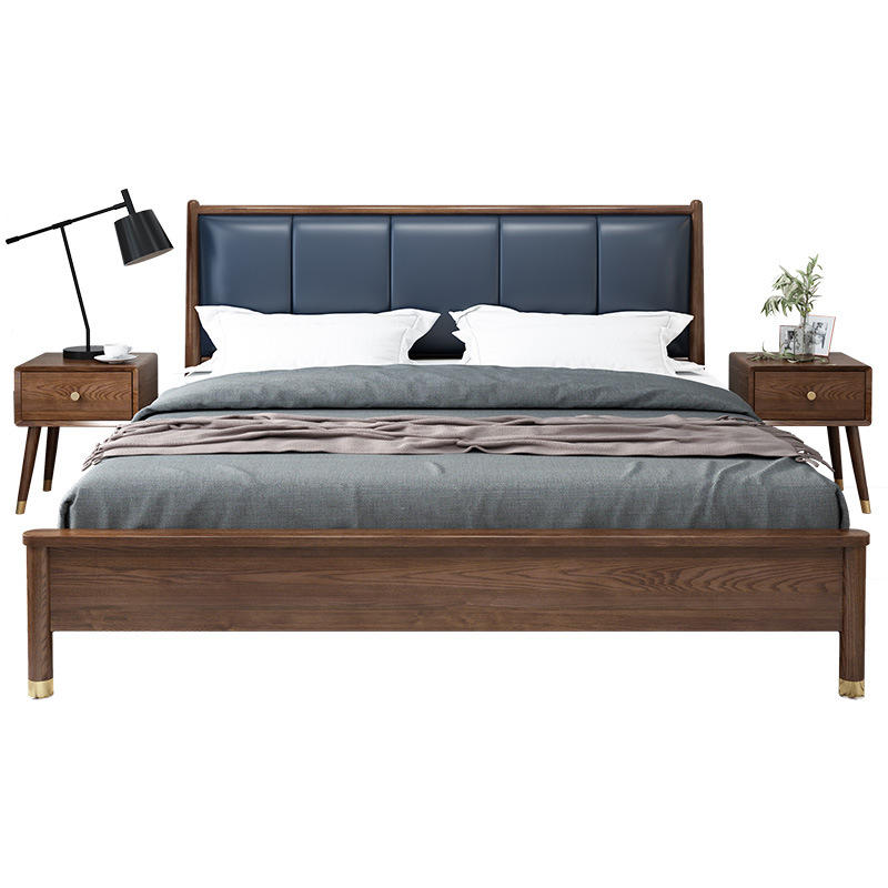 Queen size wooden furniture bed with leather back luxury wooden bed design bedroom furniture