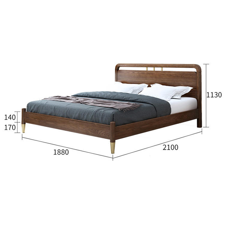 Wooden bedroom furniture King size bed wooden simple double bed design for home practical furniture
