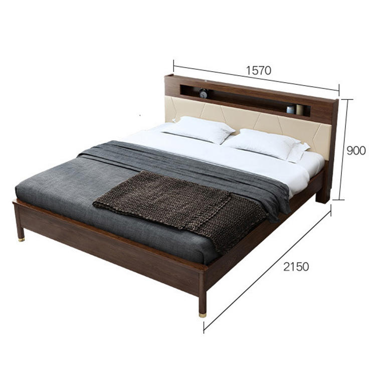 Custom supported luxury wooden King bed lighted headboard wooden double bed for home furniture