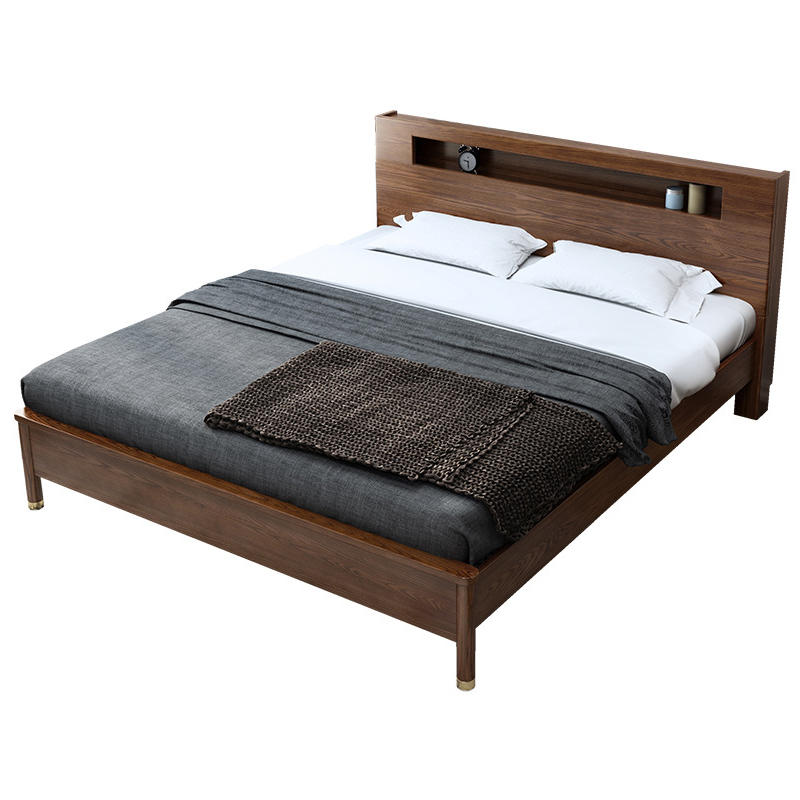 Wooden bedroom furniture Queen bed wooden single double bed with lighted headboard design