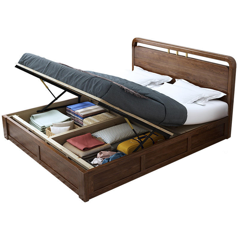 Luxury storage box wooden single or double bed gold wooden Queen bed with wooden frame for bedroom furniture
