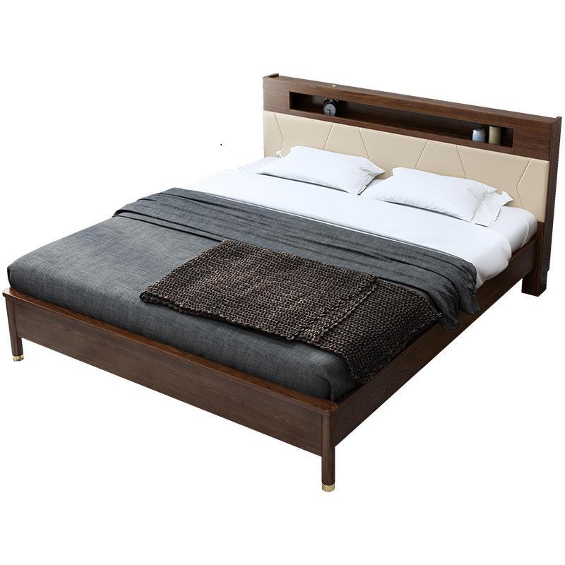 solid wooden bed frame bedroom sets slats bed with lamp latest design modern home furniture