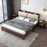 solid wooden bed frame storage rustic platform slats bed design fashion modern